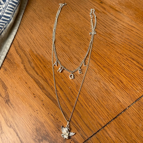 Silver Angel Double Necklace